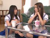 Two Asian schoolgirls share thick rod and ride it hard picture 2