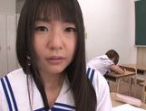 Two Asian schoolgirls share thick rod and ride it hard picture 9