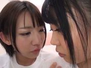 Savory teen lesbians fondle steaming bubbles of each other