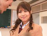 Akiho Yoshizawa Asian teacher gives her students a blowjob picture 11