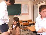 Akiho Yoshizawa Asian teacher gives her students a blowjob