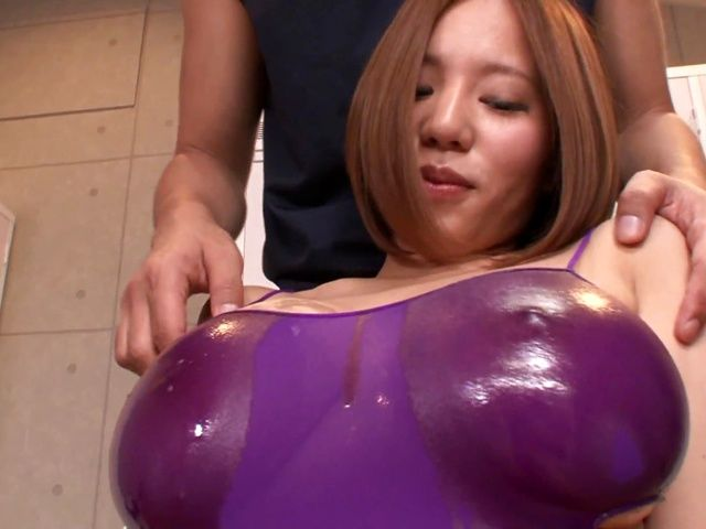 Busty female teacher Ruri Saijo gets oiled and fucked in a changing room