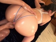 Busty babe with bubble ass, Naho Yuumi gets oiled and pounded