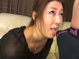 Horny Asian mature enjoys sucking hard cock