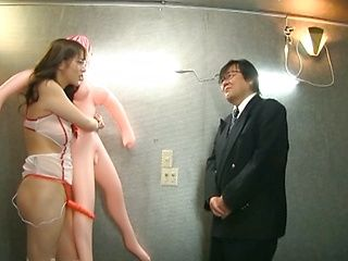 Milf in glasses Maki Koizumi fucks fat dude with strap-on