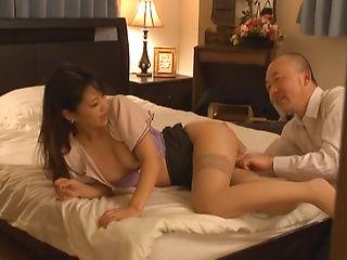 Mature Asian Erika Masuwaka in stockings banged hard by horny guy