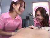 Luscious nurses Ayu Sakurai and Risa Mizuki share big rod