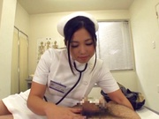 Adorable Japanese nurse Aira Masaki teases cock in handjob