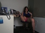 Office lady on high heels Nozomi Yui rubs her horny pussy with a dildo