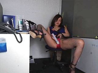Hot milf Nozomi Yui is horny at work and spreads legs for a solo act