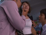 Yuki Ooe drilled by two horny males at work picture 12