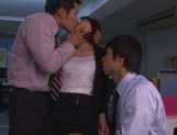 Yuki Ooe drilled by two horny males at work picture 13