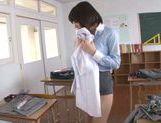 Pretty Asian teacher Airi Suzumura in solo masturbation picture 15