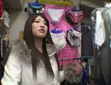 Exquisite Saki Kobashi engulfs cock in a clothing store picture 12