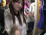 Exquisite Saki Kobashi engulfs cock in a clothing store picture 14