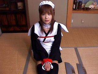 Aimi Japanese model is a beauty playing maid