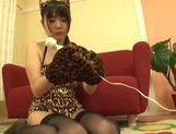 Teen kitty Tsubomi in black stockings vibrates her pussy picture 4