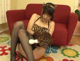 Teen kitty Tsubomi in black stockings vibrates her pussy picture 9