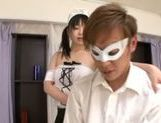 Nozomi Hazuki sexy Asian maid services client orally
