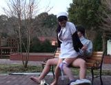 Wild Japanese nurse in sexy pantyhose gets her slit creamed picture 67