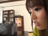 Busty Japanese housewife gives head and enjoys titfuck picture 16