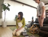 Busty Japanese housewife gives head and enjoys titfuck picture 46