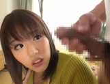 Busty Japanese housewife gives head and enjoys titfuck picture 49
