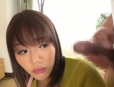 Busty Japanese housewife gives head and enjoys titfuck picture 51