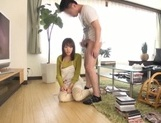 Busty Japanese housewife gives head and enjoys titfuck picture 52