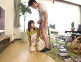 Busty Japanese housewife gives head and enjoys titfuck picture 54