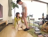 Busty Japanese housewife gives head and enjoys titfuck picture 58