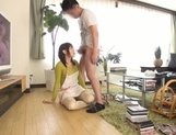 Busty Japanese housewife gives head and enjoys titfuck picture 59