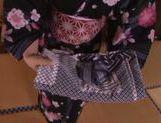 Naughty Asian teen Ai Uehara in sexy kimono in POV sex