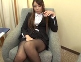 Sweet office lady Saki Hatsuki gives a foot job and rides cock picture 13