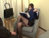 Sweet office lady Saki Hatsuki gives a foot job and rides cock