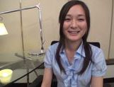 Naughty Japanese AV model in an office suit in threesome picture 1