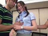 Naughty Japanese AV model in an office suit in threesome picture 4