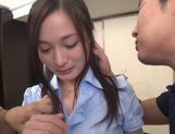 Naughty Japanese AV model in an office suit in threesome picture 7