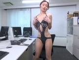 Naughty Japanese office lady strips and drills her horny wet pussy picture 11