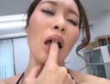 Naughty Japanese office lady strips and drills her horny wet pussy picture 14
