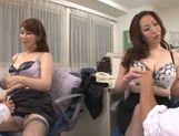 Naughty office babes Chisato Shohda and friend ride cocks
