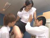Sexy Japanese teacher Mira Tamana fucked by two guys picture 14