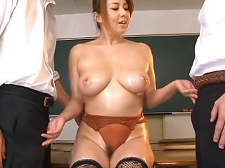 Yumi Kazama nasty Asian teacher in mmf threesome porn