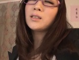 Unsatisfied Japanese teacher gives a cute throat job and rides dick picture 12