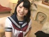 Shameless Asian schoolgirl Ai Uehara sucks cock picture 12