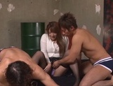 Hottie with massive butt Shiori Kamisaki in a kinky threesome action picture 1