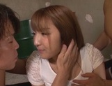 Hottie with massive butt Shiori Kamisaki in a kinky threesome action picture 7