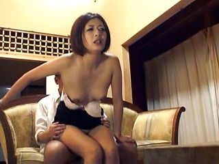 Petite Japanese damsel flirts with the guy and seduces him