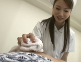Sexy Japanese nurse in fancy pantyhose gives a blowjob and a ride picture 12