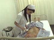 Sexy Japanese nurse in fancy pantyhose gives a blowjob and a ride